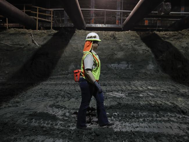 Paleontologist Ashley Leger navigates through the construction site of the Metro Purple Line extension in Los Angeles. Picture: Jae C. Hong