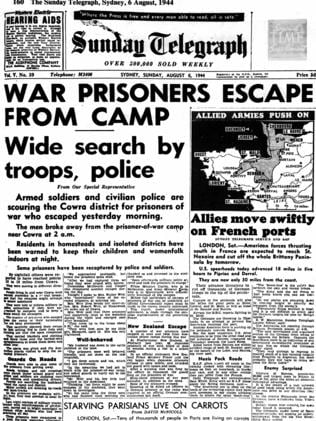 Breaking news ... the Sunday Telegraph newspaper front page from August 6, 1944.