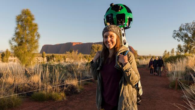 Tourism NT spokeswoman Lindsay Dixon volunteered to carry Google Street View cameras around the Northern Territory, including Uluru, to upload virtual reality experiences. Picture: Jennifer Dudley-Nicholson/News Corp Australia