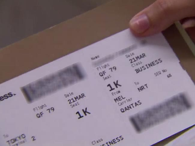 The boarding pass shown was shown on telly uncensored — but we've blurred out the important bits on this image. Picture: Channel 10