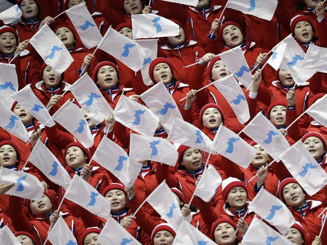 North Korean supporters sing at the 2018 Winter Olympics. Picture: AP Photo/Bernat Armangue
