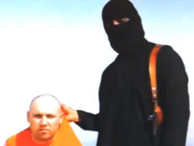 Throat cut ... Jihadists threaten to kill Sotloff in an earlier video that showed the beheading of US journalist James Foley.