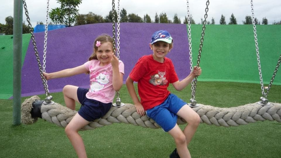 Candice 7 And William 8 Enjoying One Of The Playgrounds At Sydney Olympic