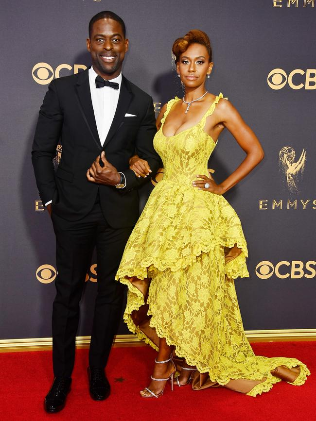 Sterling K. Brown and Ryan Michelle Bathe attend the 69th Annual Primetime Emmy Awards at Microsoft Theater on September 17, 2017 in Los Angeles. Picture: Getty