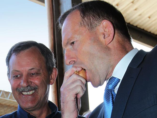 Charlton Farm Produce Director David Addison and Prime Minister Tony Abbott sampling raw onions. Picture: Chris Kidd