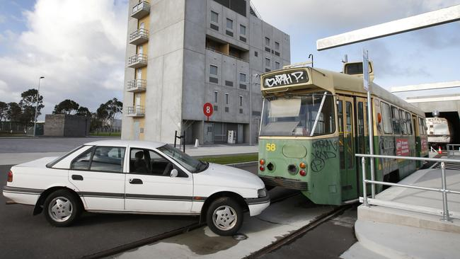 A simulated tram vs car rescue in the Transport Zone. Picture: David Caird.
