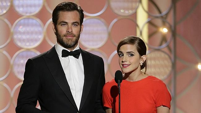 Chris Pine with Emma Watson during the 71st annual Golden Globe Awards. Picture: Paul Drinkwater/NBC