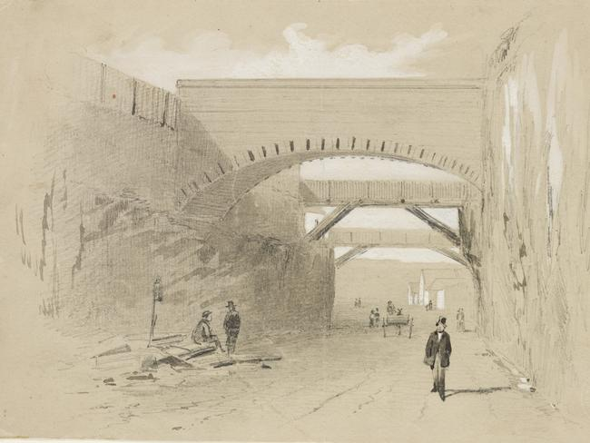 An original sketch of the Argyle Cut in Sydney by Samuel Thomas Gill.