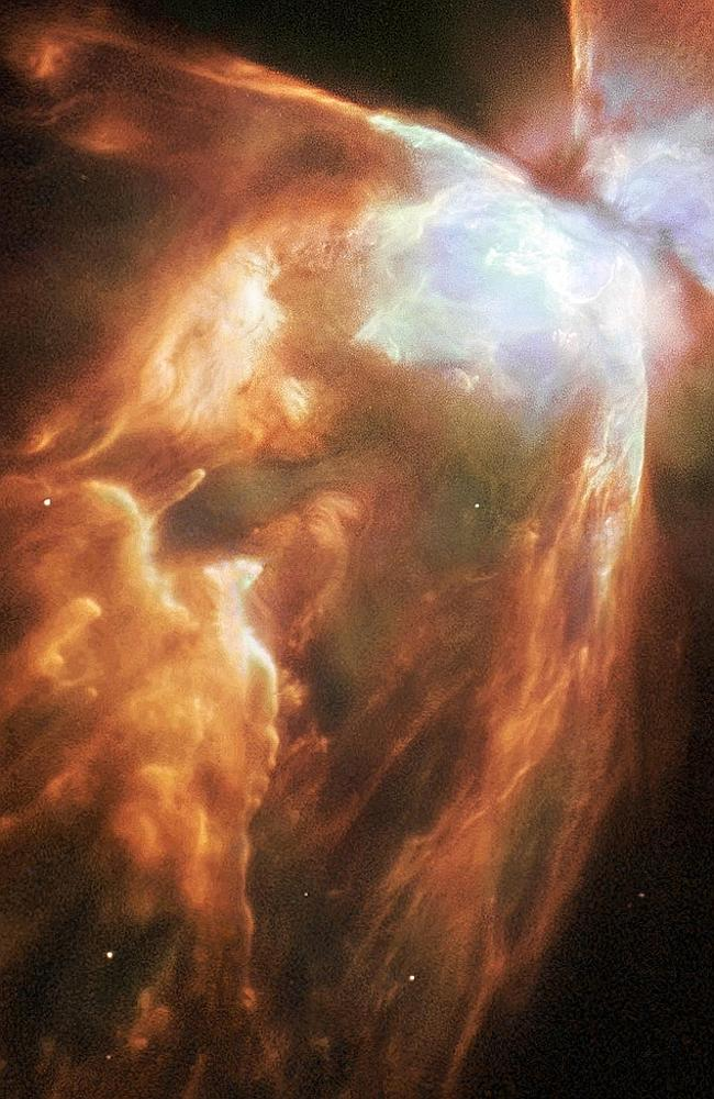 Life and death ... NASA celebrates the reboot of COSMOS by releasing images including this one of a dying star shrouded by a blanket of hailstones forming the bug nebula.