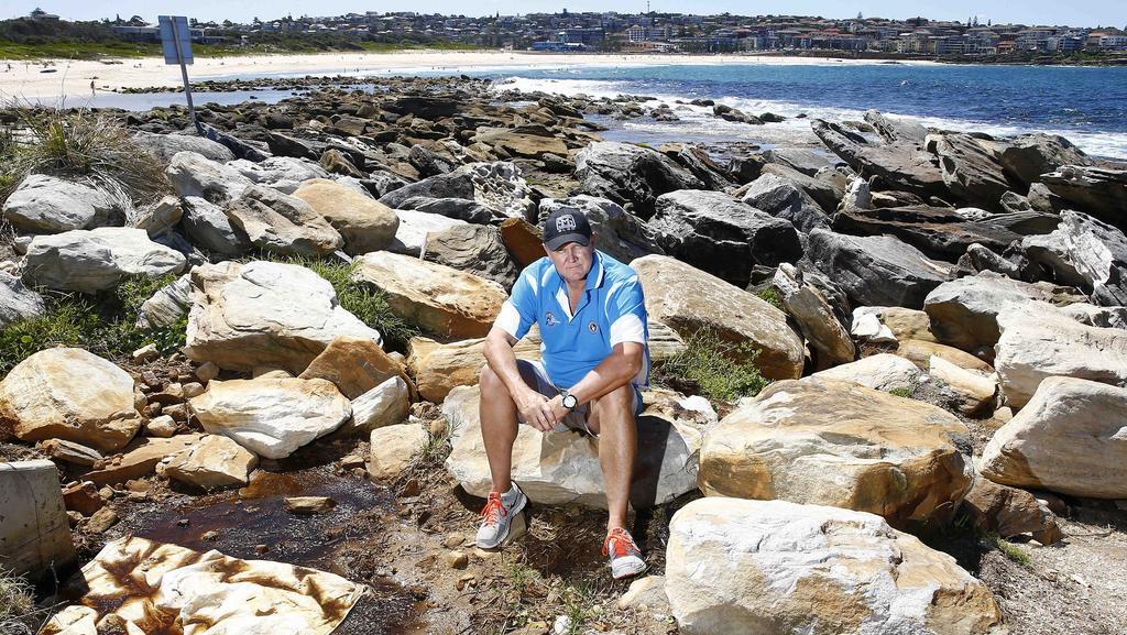 South Maroubra SLSC president Paul Fownes at the drainage outfall from the leachate pool just past the South Maroubra Rockpools. Picture: John Appleyard