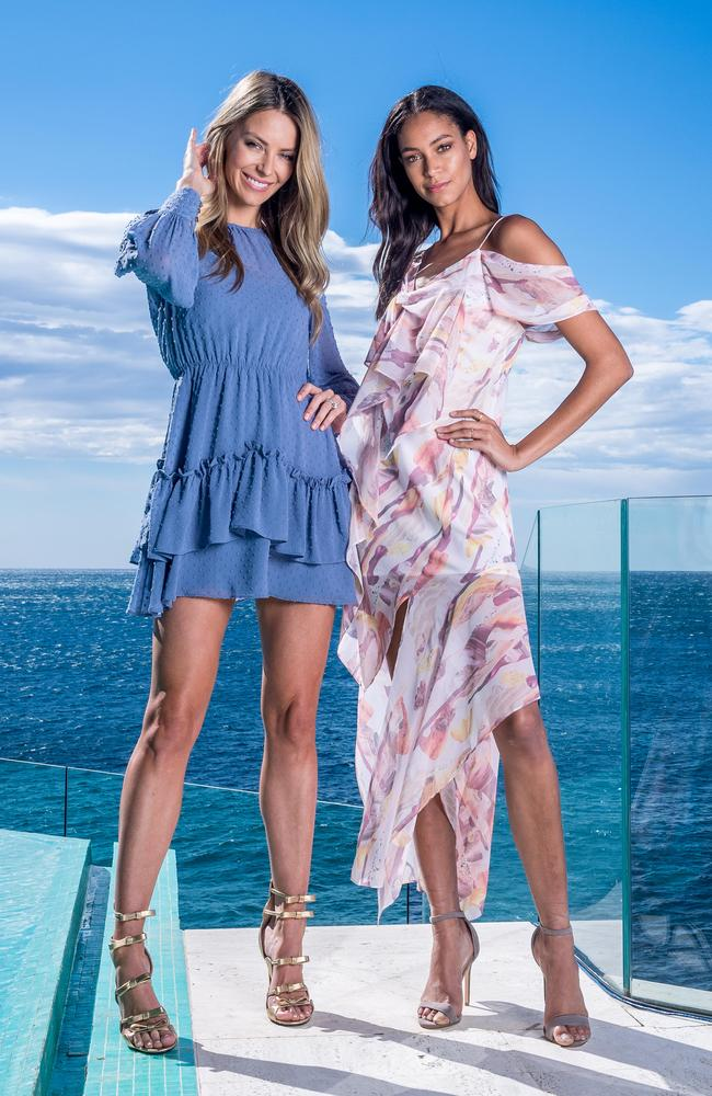 Models Jennifer Hawkins and Chantal Monaghan ahead of Myer's Spring/Summer 2017 fashion show in Coogee. Picture: Jake Nowakowski