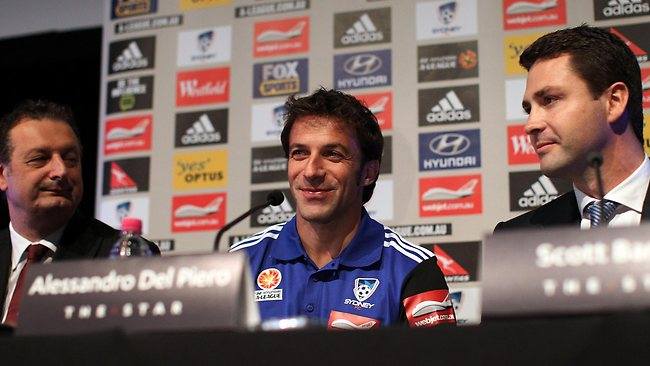 Alessandro Del Piero speaks to the media, flanked by Sydney FC chief executive Tony Pignata, left, and chairman Scott Barlow, right. Picture: Mark Metcalfe
