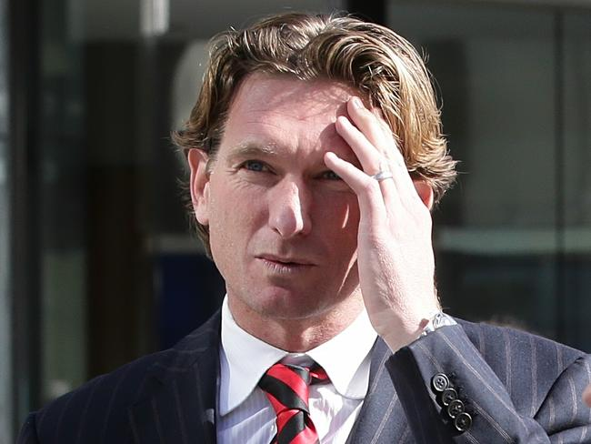 James Hird leaves Federal Court at lunch on Wednesday. Picture: Hamish Blair