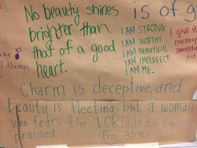 school bathroom mirror. \u201cNo Beauty Shines Brighter Than That Of A Good Heart.\u201d Photo: Trinity. \u201c School Bathroom Mirror S