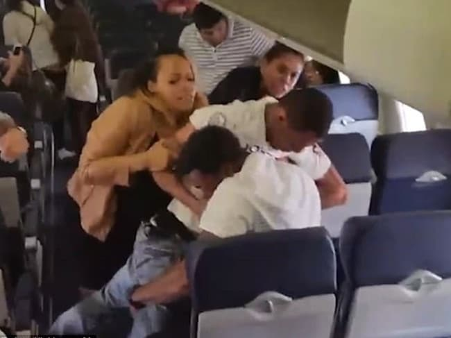 A violent brawl erupted on a Southwest Airlines plane recently after it landed in California. Picture: Twitter/@nickkrause08