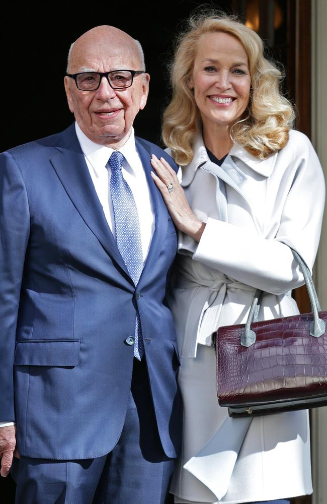 "Rupert Murdoch tweeted he is feels ""like the luckiest AND happiest man in world"" after marrying Texan beauty Jerry Hall in London."