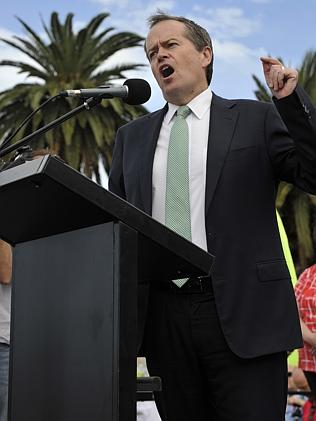 Federal Opposition Leader Bill Shorten fires up the Langley Place crowd. Picture: Justin