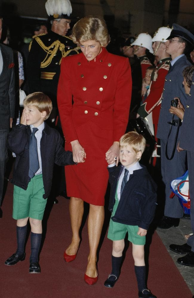 Princess Diana with her sons, Prince William and Prince Harry, in 1988. Picture: Getty