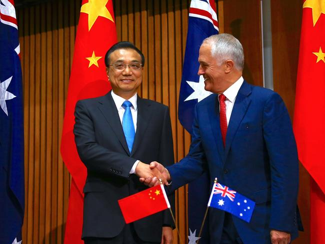 Malcolm Turnbull, pictured with Chinese Premier Li Keqiang during his official visit earlier this year. Picture: AFP
