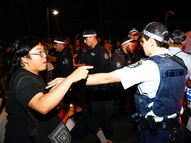 Protesters clash with police. Picture: AAP/Danny Casey