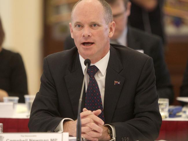 Premier Campbell Newman during a Parliamentary estimates hearing. Pic Jono Searle.