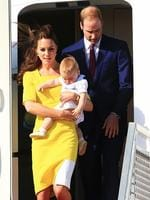Prince William and Duchess Kate with Prince George arrive at Sydney airport today. Picture: Adam Taylor