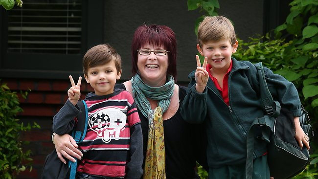 Nanny Niki Esler with Charlie, 5, and Sam, 7. Picture: Andrew Tauber