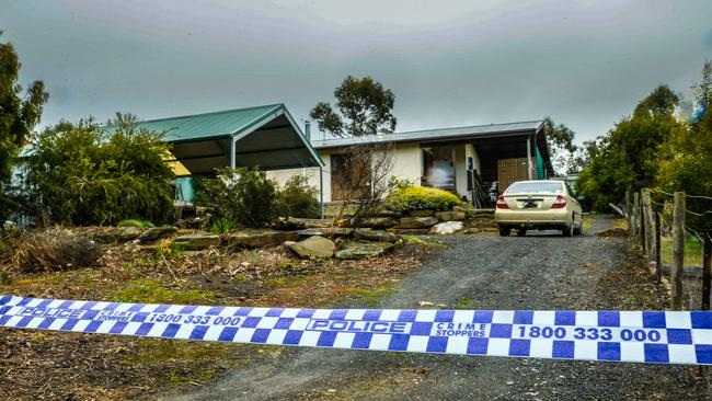 Kevin Skeyhill's house at Tungkillo. He was found dead on a neighbour's driveway. Picture: AAP/Roy Vandervegt