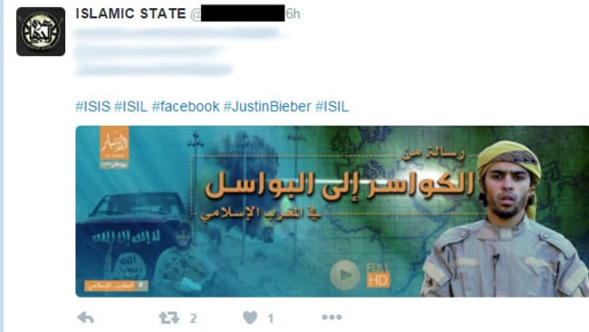 Islamic State has attempted to hijack the Justin Bieber hashtag on Twitter, releasing a graphic propaganda video that could of potentially reach millions of young people. Picture: AAP
