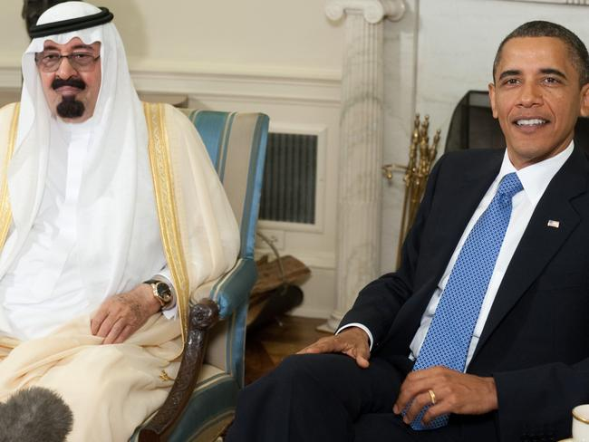 Close alliance ... US President Barack Obama speaks alongside King Abdullah bin Abdulaziz Al Saud of Saudi Arabia during meetings in the Oval Office at the White House in Washington, DC. Picture: AFP