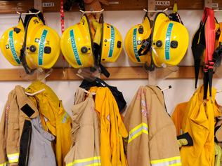 Firefighting equipment is seen during an announcement in Melbourne, Friday, May 19, 2017. After a long running pay dispute, the Andrews government cabinet has endorsed a plan to split the CFA into volunteer and paid firefighters. (AAP Image/Joe Castro) NO ARCHIVING