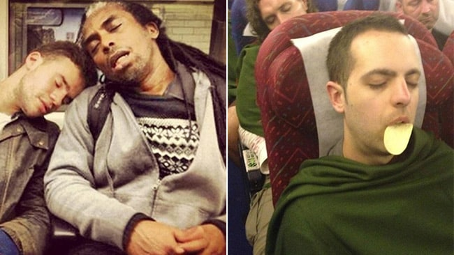 Left: Lean on me, and right: sleep-eating. Picture: SleepyCommuters/Twitter