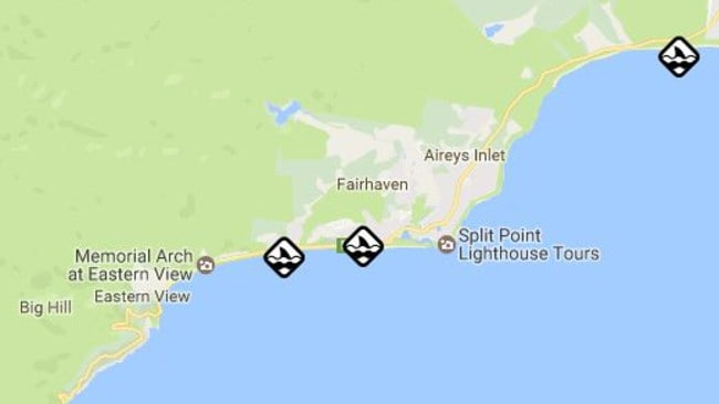 Locations of shark sightings in Victoria. Picture: VicEmergency