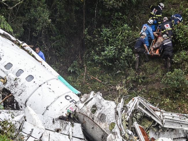 A charter plane carrying the Brazilian football team crashed in the mountains in Colombia. Picture: AFP.