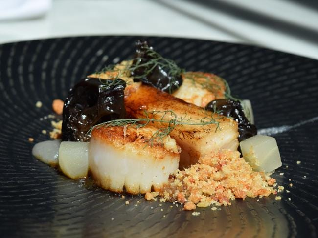 Enjoy two great combinations, scallops and pork belly. Picture: Jenifer Jagielski