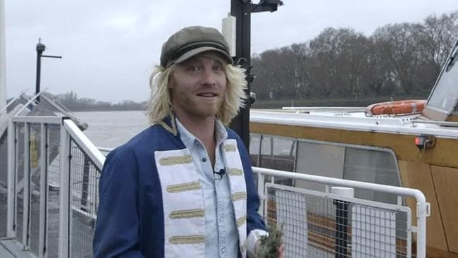 On the River Thames to brew a spruce beer. The surprise ingredient? It's in Tim's hand.