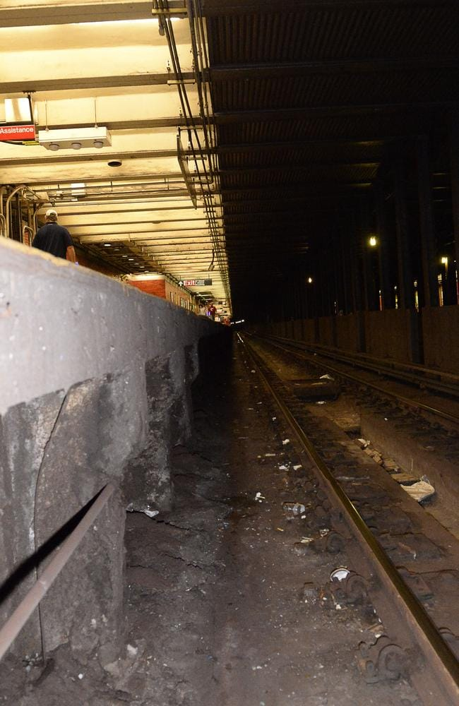 Miracle ... Mary Downey survived being run over by two subway trains after falling onto these tracks at the Times Square subway station. Picture: Splash