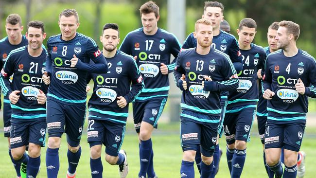 Melbourne Victory Players Train At Goschs Paddock Picture Mark Stewart