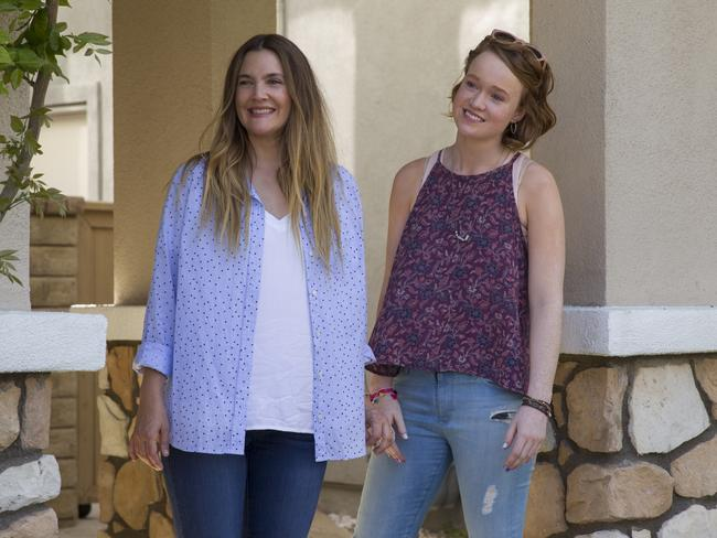 Drew Barrymore with Aussie actress Liv Hewson in The Santa Clarita Diet. Picture: Netflix