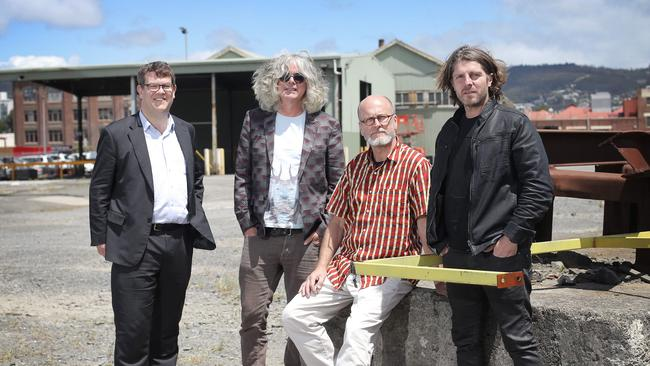 State Growth Minister Matthew Groom with David Walsh, Aboriginal art historian Greg Lehmann and Leigh Carmichael. Picture: Luke Bowden