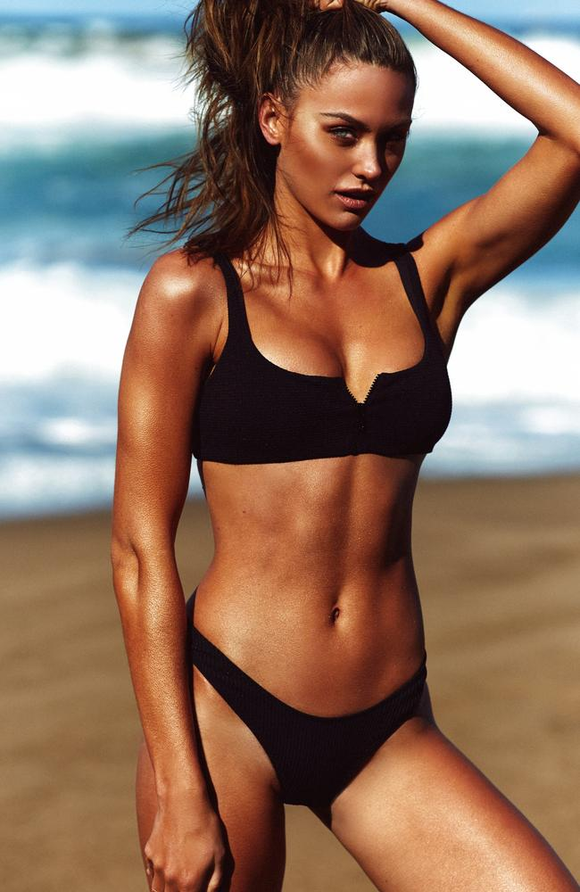 Jesinta is an in-demand swimsuit model who has admitted to watching her diet carefully. Picture: Supplied by Annie Kelly