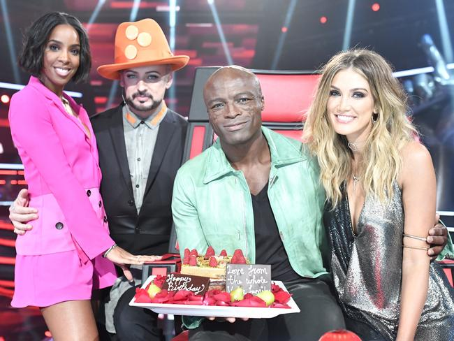 This year's The Voice coaches, Kelly Rowland, Boy George, Seal and Delta. Picture: Supplied/Channel 9