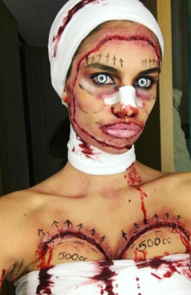 Sara Sampaio's plastic surgery Halloween outfit. Picture: Instagram