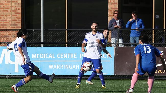 Manly United v Sydney Olympic during the NSW NPL.
