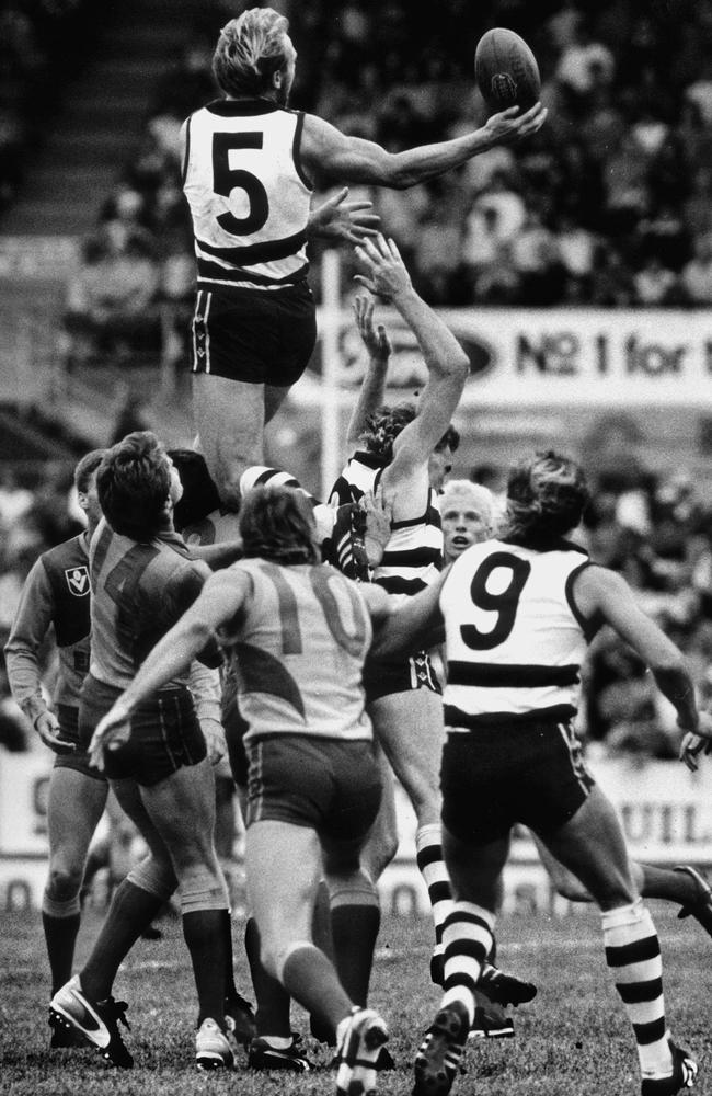Gary Ablett flies over the mark against West Coast in 1988.