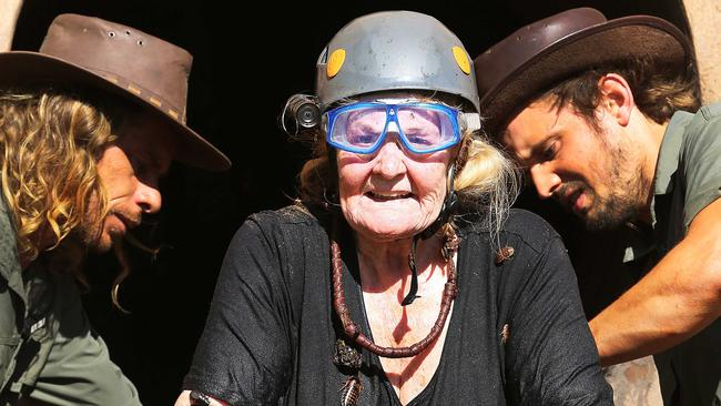 Val Lehman competes in Dam Shame challenge on I'm A Celebrity ... Get Me Out Of Here! Picture: Nigel Wright/Ten