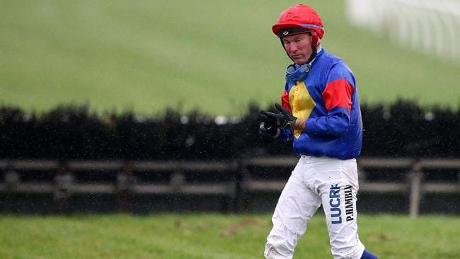 Jumps jockey Paul Hamblin after a fall at Sandown. Picture: Wayne Ludbey.