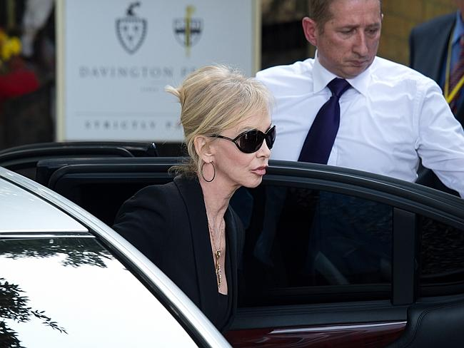 British actress Trudie Styler arrives at St Mary Madgalene and St Lawrence Church in Davington, Kent ahead of the funeral of Peaches Geldof.