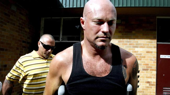Michael Williams leaves hospital in 2008 after his epic swim. Picture: News Corp