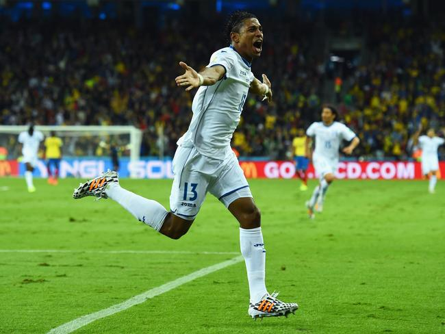 Carlo Costly of Honduras celebrates scoring his team's first goal of the 2014 World Cup Brazil against Ecuador.